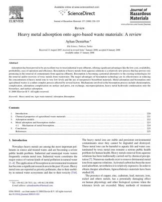 Heavy Metal Adsorption Onto Agro-based Waste Materials- A Review