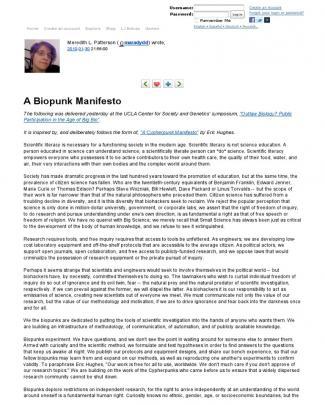 Meredith L Patterson A Biopunk Manifesto