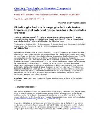 El índice Glucémico Y La Carga Glucémica De Frutas Tropicales Y El Potencial Riesgo Para Las Enfermedades Crónicas Traducido