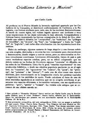 Lavín, Carlos - Criollismo Literario Y Musical
