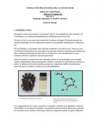 Extraccion Del Eugenol Del Clavo De Olor