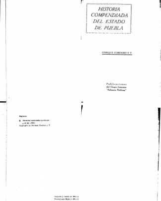Historia Compendiada Del Estado De Puebla