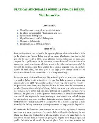 Pláticas Adicionales Sobre La Vida De Iglesia - Watchman Nee