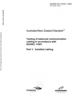 As Nzs Iec 61935.1-2006 Testing Of Balanced Communication Cabling In Accordance With Iso Iec 11801 Installed