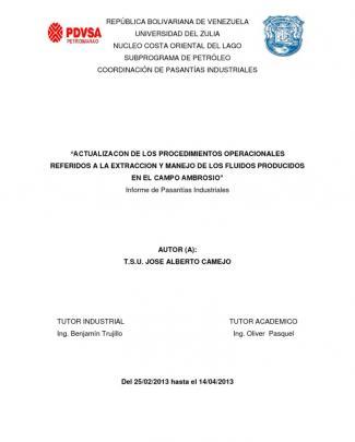 Informe De Pasantias Jose Camejo