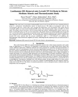 Lanthanum (iii) Removal Onto Lewatit Tp 214 Resin In Nitrate Medium: Kinetic And Thermodynamic Study