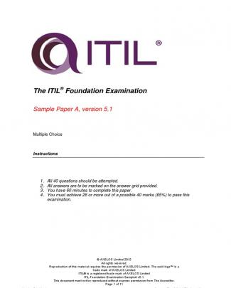 Itil Foundation Examination Samplea V5.1 Questions Answers