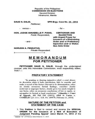 Comelec Memorandum Election Case