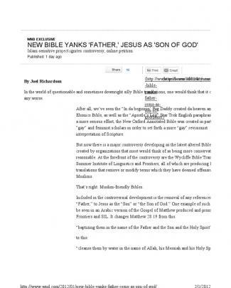 Wycliffe's Chrislam Bible Abomination