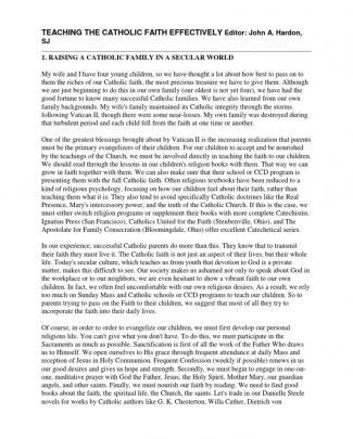 Teaching The Catholic Faith Effectively Editor