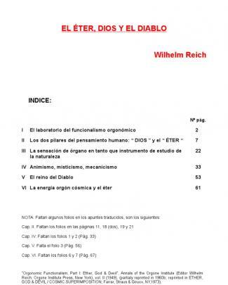 Wilhelm Reich El Eter, Dios Y El Diablo