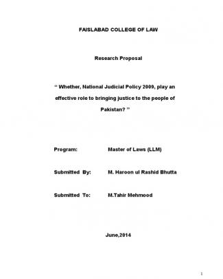 Highlights Of National Judicial Policy Of Pakistan 2009 By Haroon