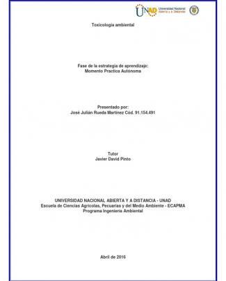 Informe De Practica Toxicologia Ambiental Unad 2106