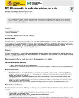 Ntp_336 Abosrcion De Quimicos Por La Piel