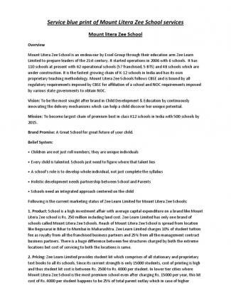 Service Blue Print Of Mount Litera Zee School Services