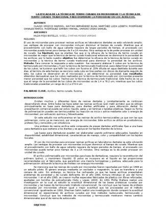 La Eficacia De La Técnica De Termo Curado En Microondas Y La Técnica De Termo Curado Tradicional Para Disminuir La Porosidad En Los Acrílicos