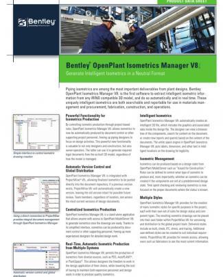 Bentley-openplant Isometrics Manager V8i Product-data-sheet