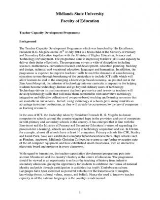 Teacher Capacity Development Programme Project Proposal
