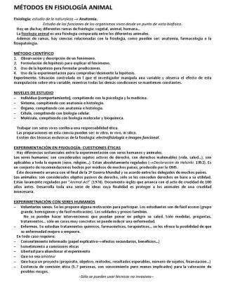 Métodos En Fisiología Animal Resumen