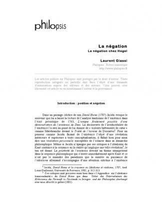 Giassi, Laurent - La Négation Chez Hegel