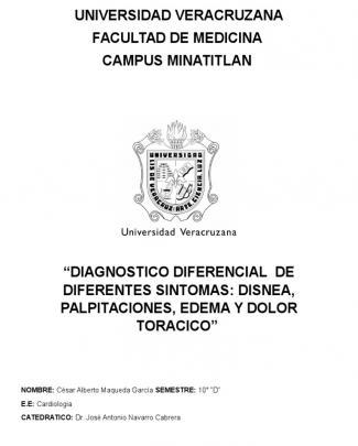 Diagnostico Diferencial Disnea, Edema, Palpitaciones, Dolor Toracico
