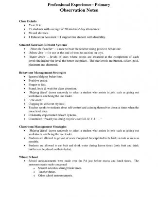 Primary - Observation Notes