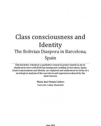 Class Consciousness And Identity: The Bolivian Diaspora In Barcelona, Spain