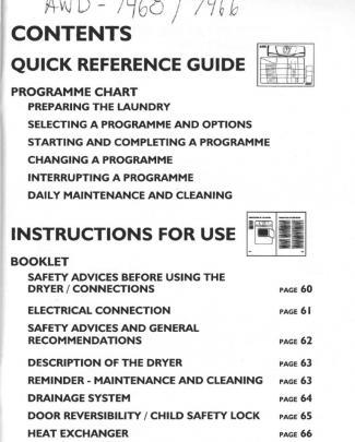 Whirlpool Awz 7466 7468 Manual Care Guide
