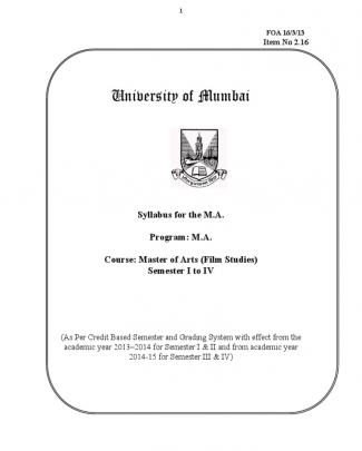 Ma (film Studies) Mumbai University Syllabus (academic Year 2013)