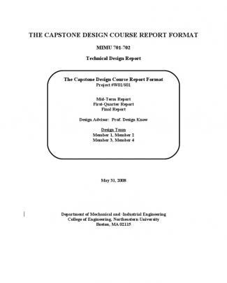 Capstone Report Format