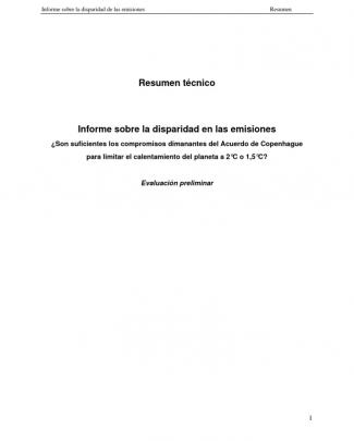 Unep Informe Sobre La Disparidad En Las Emisiones(resumen)