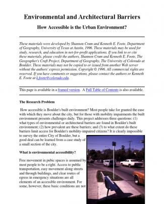 Environmental And Architectural Barriers