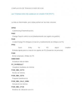 Resumen De Transacciones Sap Hcm