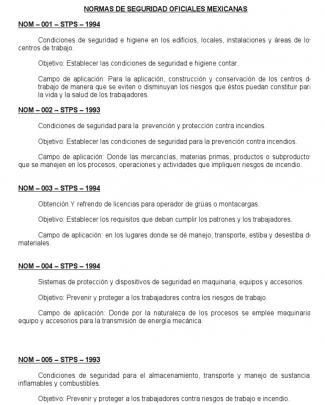 Normas De Seguridad Oficiales Mexicanas