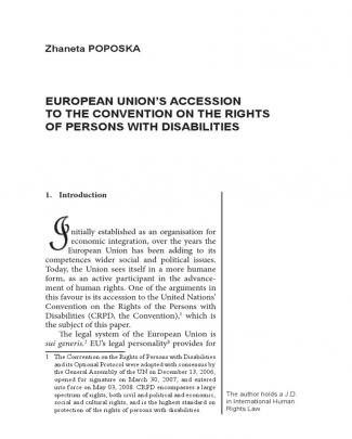 Zaneta Poposka  European Union's Accession To The Convention On The Rights Of Persons With Disabilities