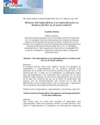 Visiones Del Regionalismo Y La Regionalización En América Del Sur En El Nuevo Milenio De  Franklin Molina