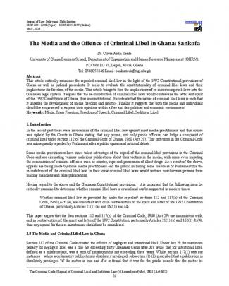 The Media And The Offence Of Criminal Libel In Ghana Sankofa By Dr. Olivia Anku-tsede