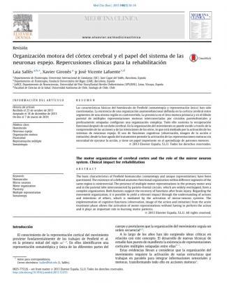 2015 Organización Motora Del Córtex Cerebral Y El Papel Del Sistema De Las Neuronas Espejo. Repercusiones Clínicas Para La Rehabilitación