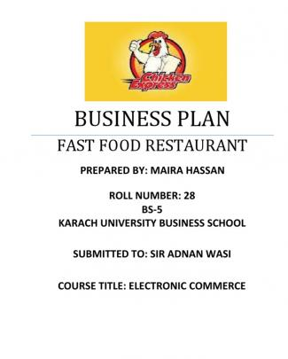 Fast Food Restaurant Business Plan