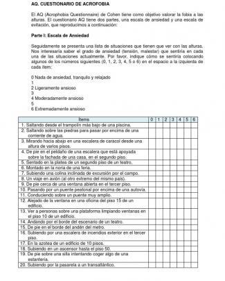 Cuestionario De Acrofobia-formato E Instrucciones Para Calificar