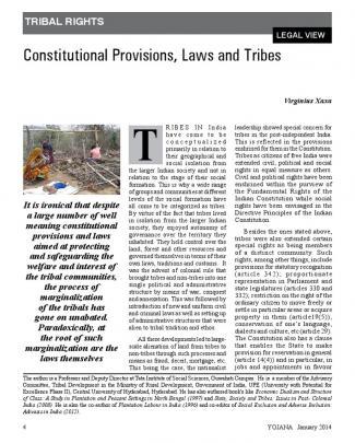 Yojana-january 2014-constitutional Provisions, Laws And Tribes- Virginius Xaxa