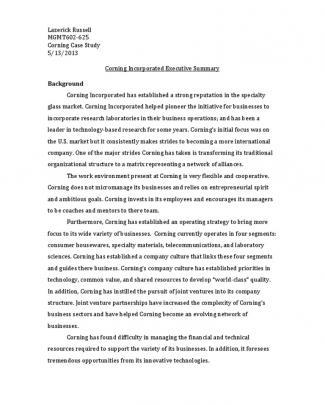 Corning Exec Summary