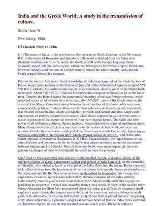 Jean W. Sedlar - India And The Greek World
