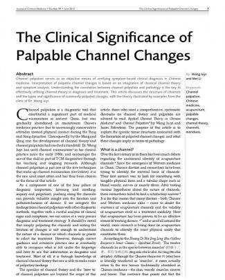 王居易 The Clinical Significance Of Palpable Channel Changes