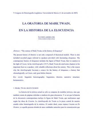 La Oratoria De Mark Twain En La Historia De La Elocuencia