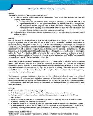 Workforce Planning Framework