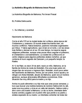 La Auténtica Biografía De Mahoma Imran Firasat