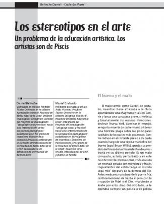 """Ciafardo, Mariel Y Belinche, Daniel, """"los Estereotipos: Un Problema De La Educación Artística. Los Artistas Son De Piscis"""","""