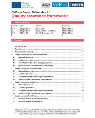 Delivearble 6.1 Quality Assurance Framework (2.0)