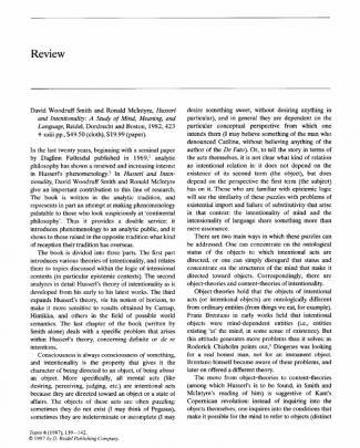 Husserl And Intentionality- A Study Of Mind, Meaning, And Language
